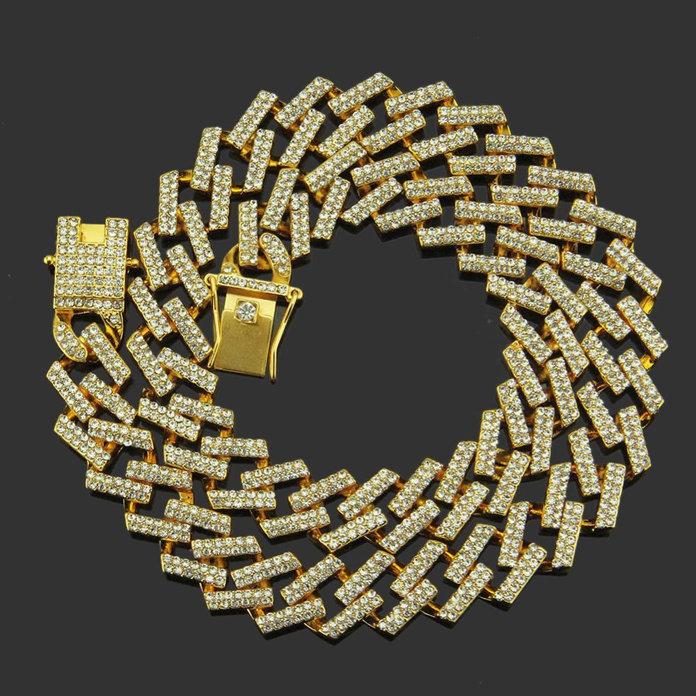 Collar de cadena de eslabones cubanos de Miami 13mm, cadena de rapero con piedras de oro pavimentada, joyería de Hip Hop para hombres