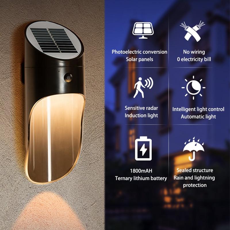 Led Solar Light Solar Motion Sensor Energy Saving Lighting Porch Waterproof IP65 Led Outdoor Solar Lamp Wall Light