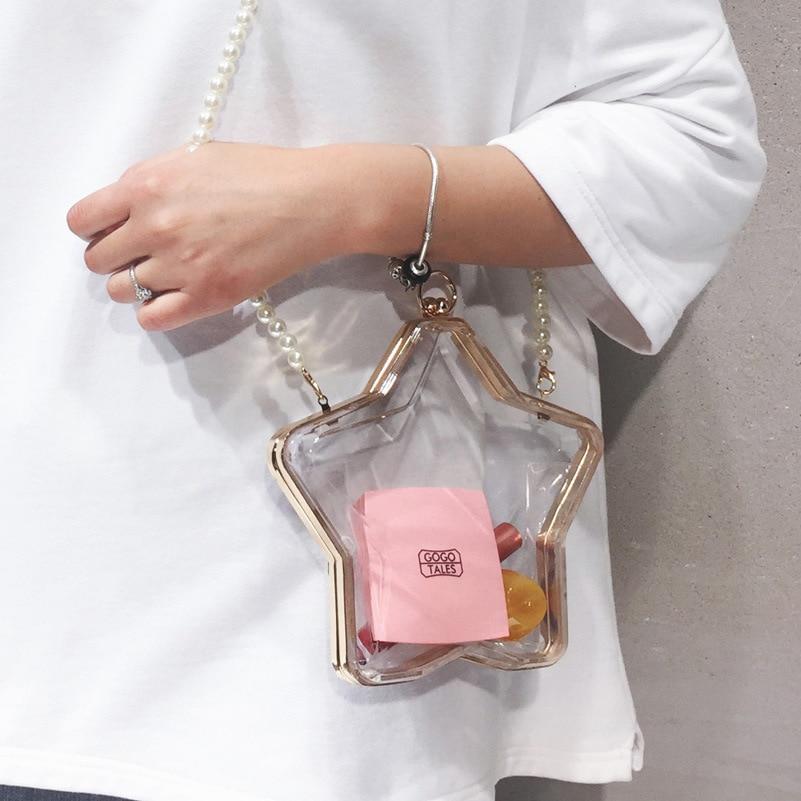 Transparent Bag Female 2021 New Wave Messenger Bag Chain Acrylic Box Bag Pearl Bag Clear Crossbody Bags for Women