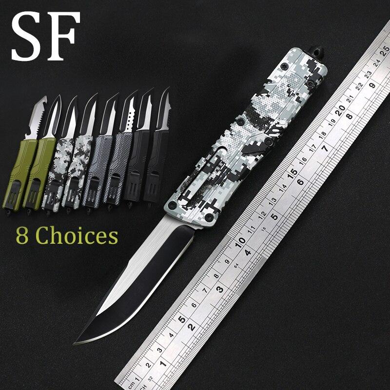 Cuchillo con mango de aluminio SF otf, hoja de 8 estilos para campamento, supervivencia al aire libre, herramienta táctica EDC hunt, cuchillo de cocina de cena