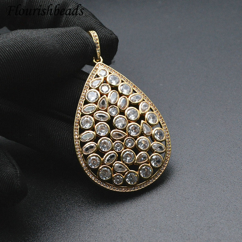 Big Size CZ Paved 55mm Pear Shape Metal Necklace Pendant DIY Fashion Jewelry Making Supply