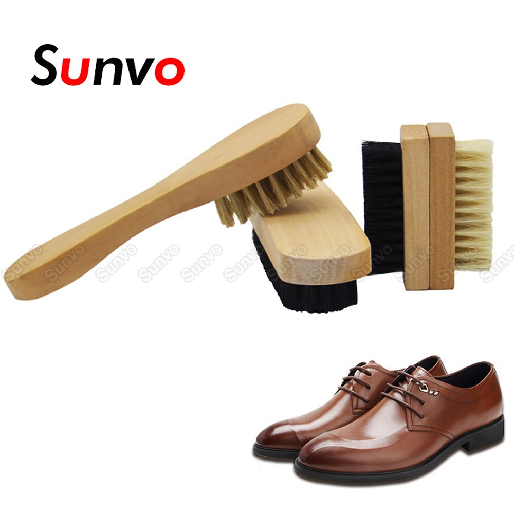 Sunvo Wood Portable Shoe Brush for brush for Cleaning Leather Shoes Cleaner Brush Cleaning Polishing Tool Shoe Care Accessories bristles become warped head shoe brush polishing leather shoes polish wipe scrub fur soft hair