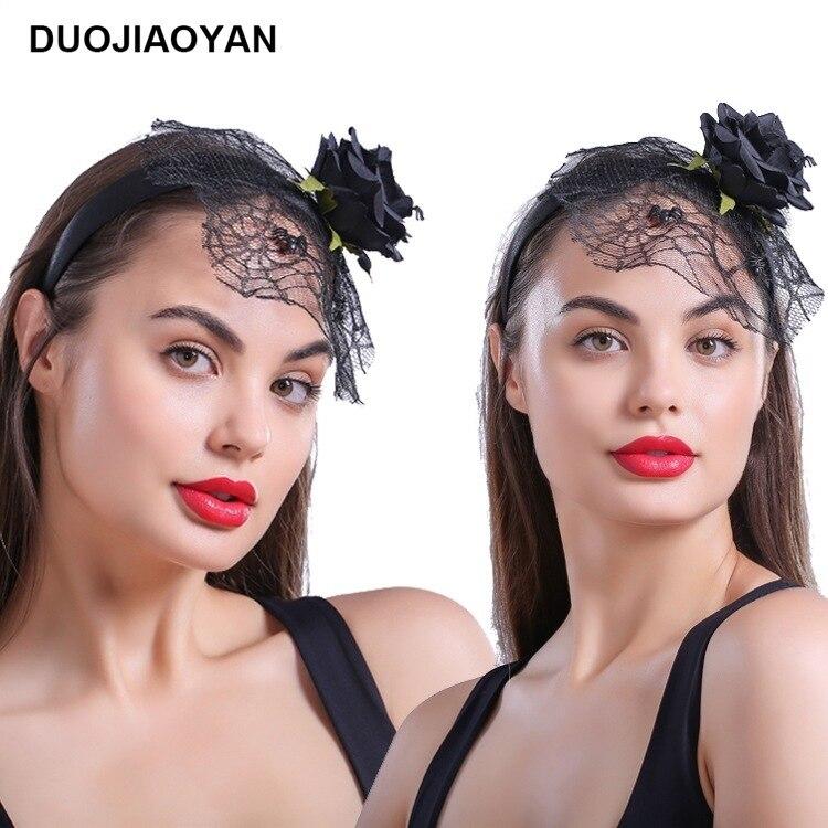 ¡Venta al por mayor! ¡venta al por mayor! Hilo de tela de araña de flores de simulación negra, Aro para el pelo de Halloween, accesorios para el cabello
