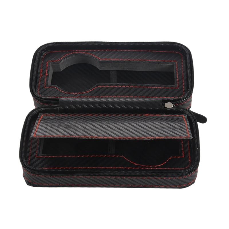 2 Slots Carbon Fibre Watch Box Bag Display Zipper Case Display Storage Portable Travel Holder Case Portable Leather Organizer