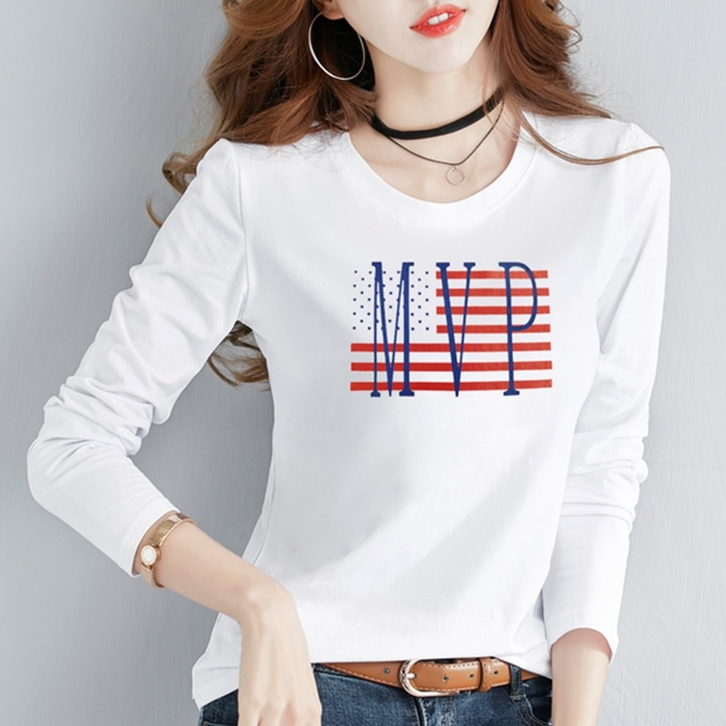 Verano nuevo estilo coreano ocio moda Harajuku streetwear manga larga cuello redondo Camiseta bandera americana MVP impreso chica tops