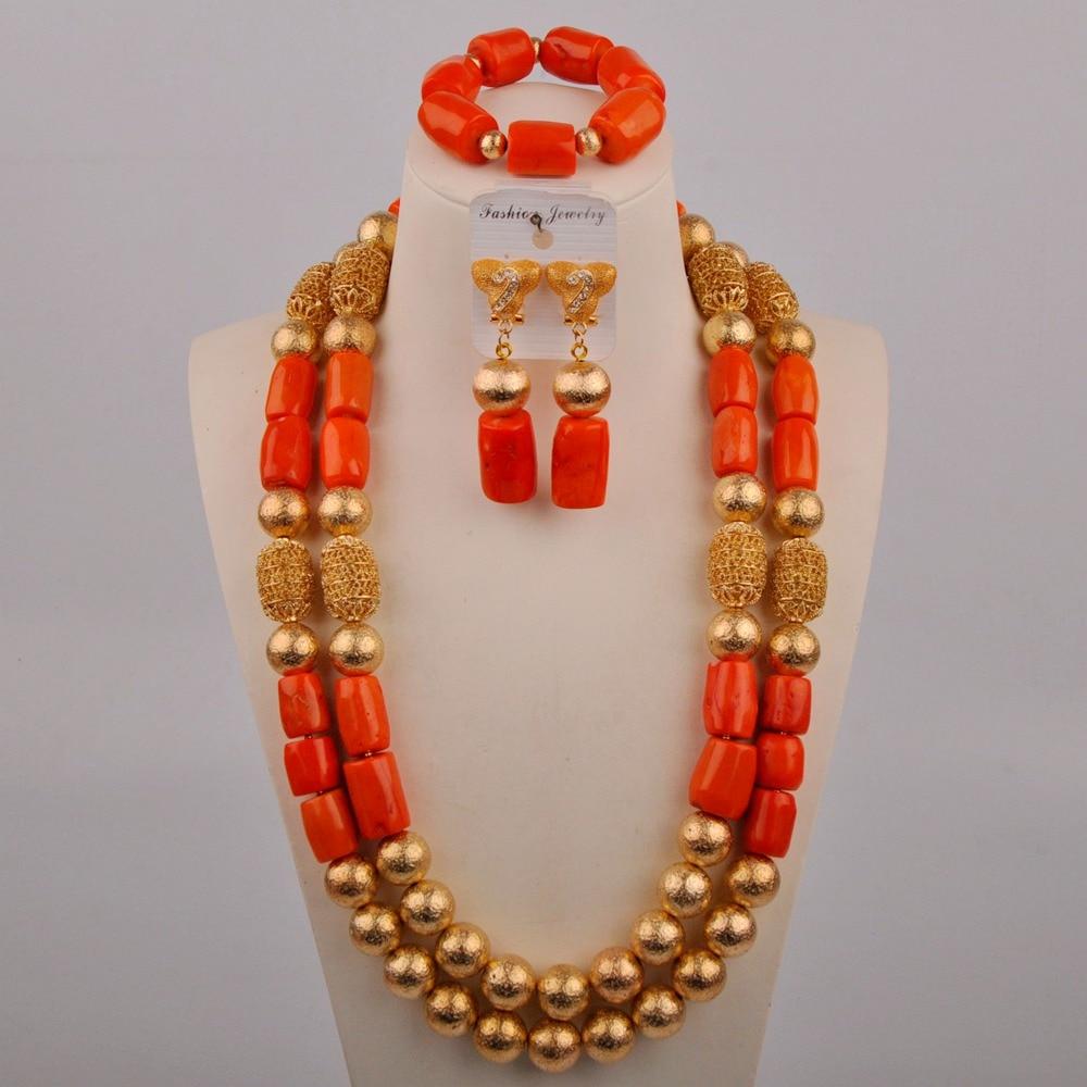 البرتقال النيجيري المرجان الخرز طقم عروسة الزفاف الأفريقي جوهرة القلادة طقم مجوهرات الأفريقية