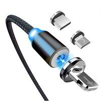 Магнитный USB-кабель со светодиодной подсветкой, магнитное зарядное устройство, кабель USB Type-C Micro USB, кабель мобильный телефон, пылезащитная з...