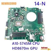 newrecord da0u92mb6d0 734441 001 734441 501 for hp pavilion 14 n series laptop motherboard a10 5745m cpu hd8670m gpu main board