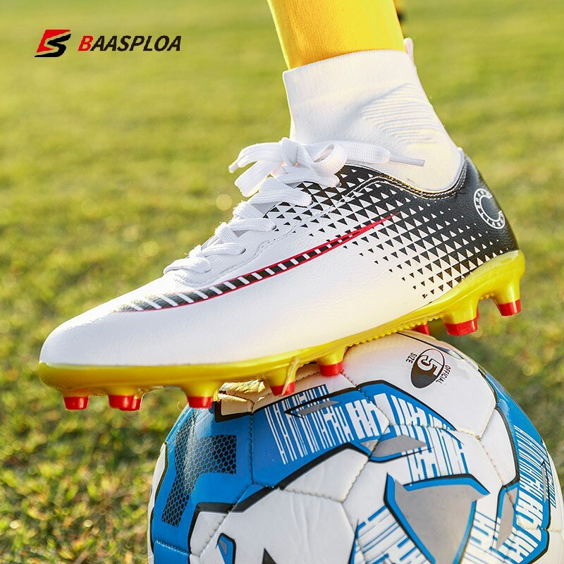 Baasploa Men Soccer Shoes Adult Kids High Ankle Football Boots Cleats Grass Training Sport Footwear Large Size Zapatos De Hombre