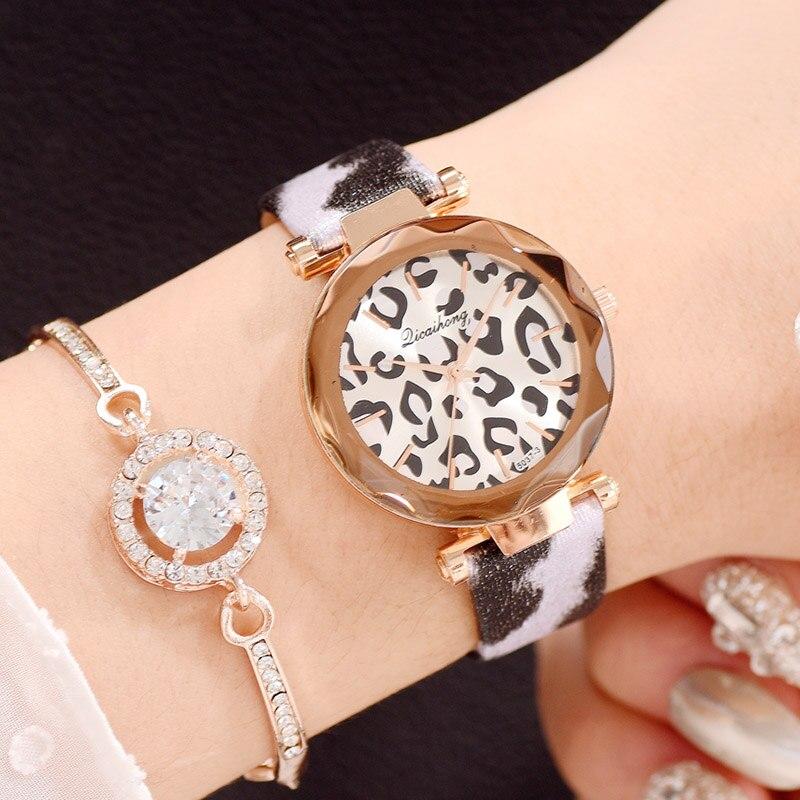 Relojes románticos de cuarzo para Mujer, Reloj de lujo con estampado de leopardo, Sexy, para niñas, corte de gemas, venta superior, regalo para amantes de la Mujer nuevo