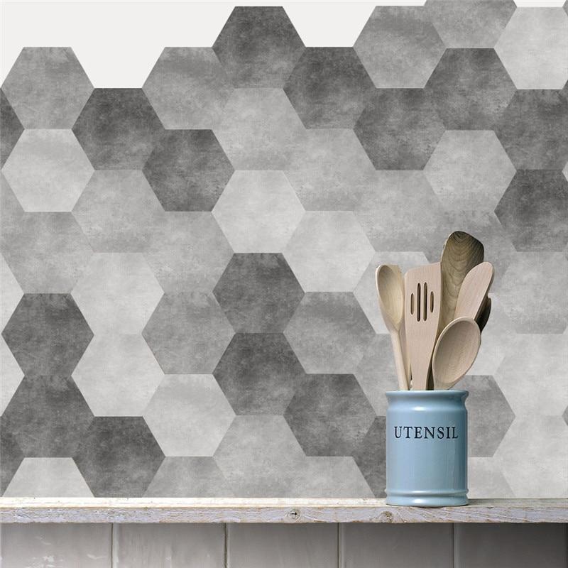 Moda gris geometría papel pintado impermeable Anti-fuego Mural para cocina armario antideslizante baño hexágono autoadhesivo adhesivo