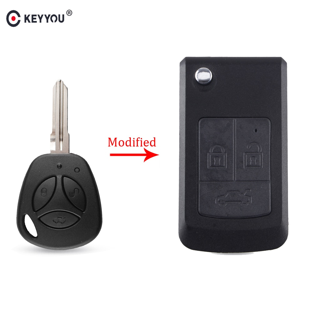 KEYYOU 3 Button Modify Flip Folding Remote Car Key Shell Replacement Case For Lada Priora Niva Vaz Granta Samara 2108 XRay Sedan