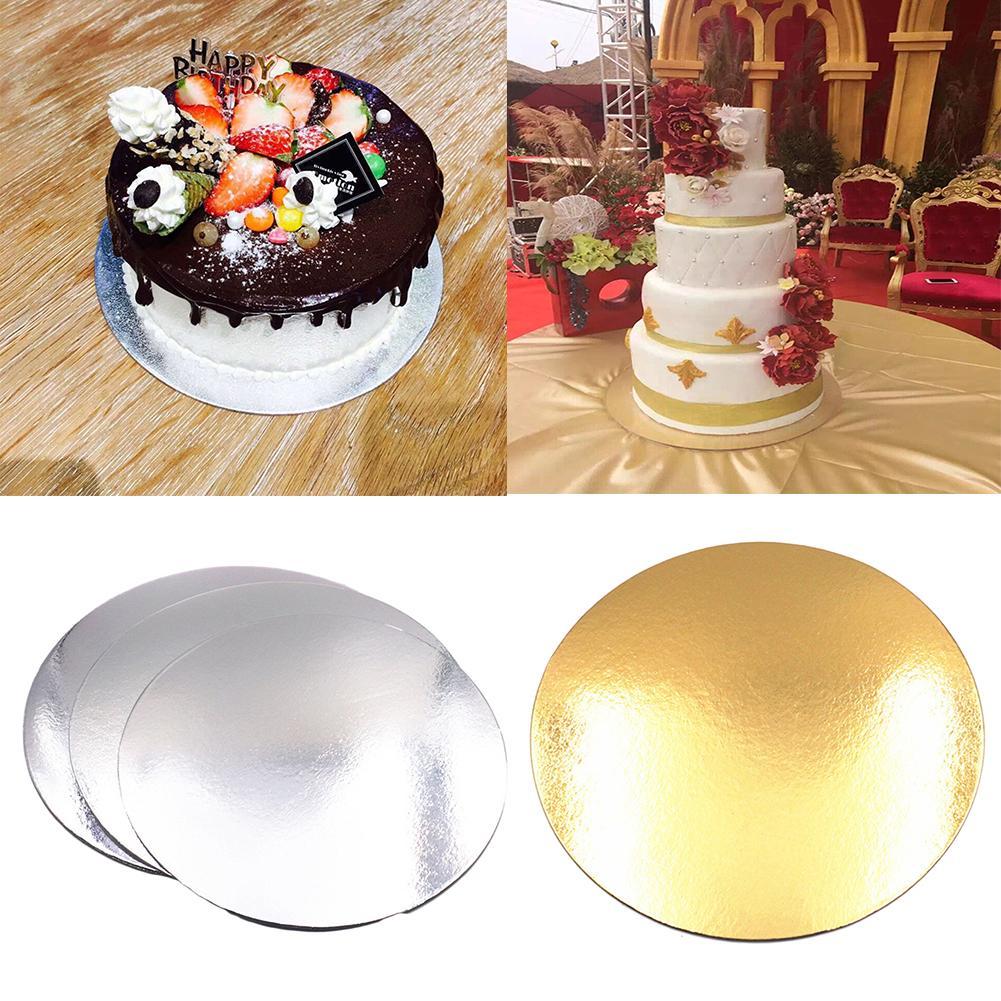 5 uds/8/10/12/14 pulgadas oro cartón redondo para pastel círculo Base soporte para Cupcakes caja de papel camisas de masa para fiestas estera para hornear de decoración