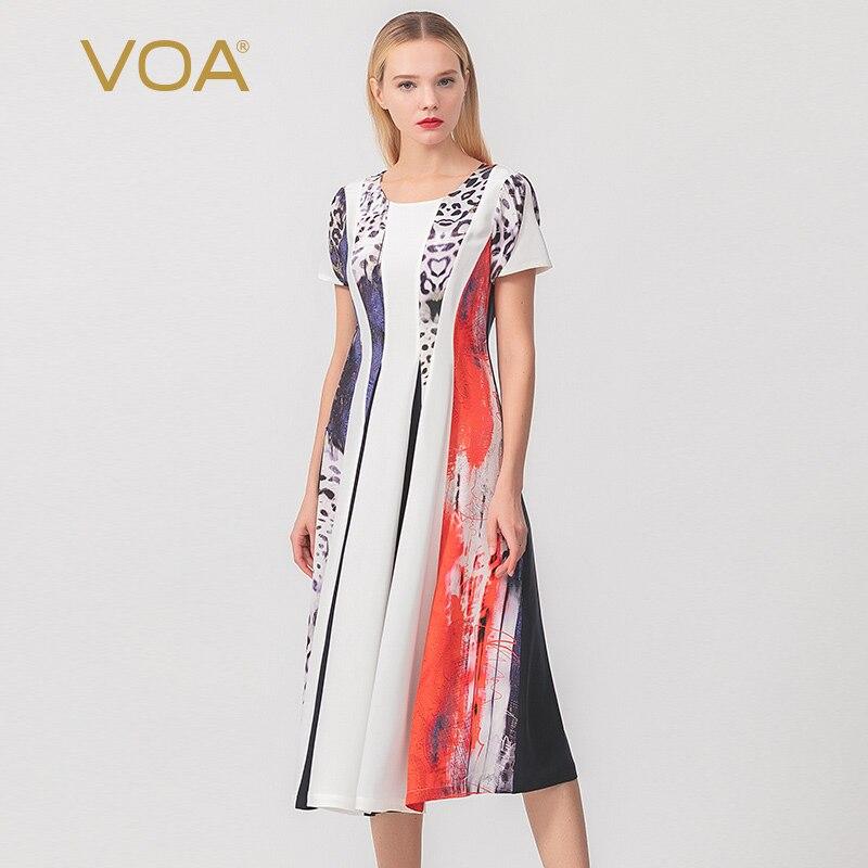 VOA30 Mmi Heavy Leopard Print Splicing  Short Sleeve Waist Slim Women's Silk Dress A10710