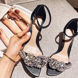 Sandálias gladiador feminino cristal embelezado sandálias de salto alto fivela cinta de couro preto sapatos femininos 2020 bombas de festa de casamento