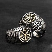 keisha lena punk titanium stainless steel ring nordic viking compass and rune ring jewelry engraving tree of life symbols mens