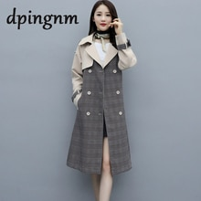 Casual lapel women trench coat Double breasted stitching plaid female long trenches High street styl