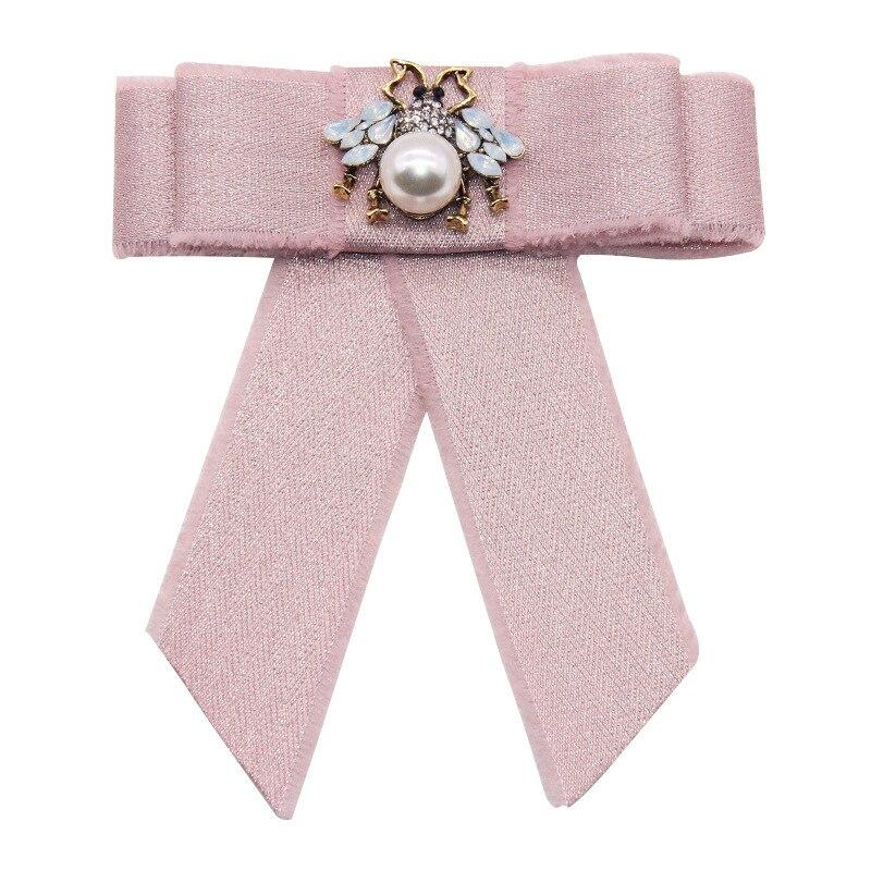 Fita bowknot arcos broche cristal abelha cravat bowtie pescoço laços pinos e broches moda colar pino presentes para acessórios femininos