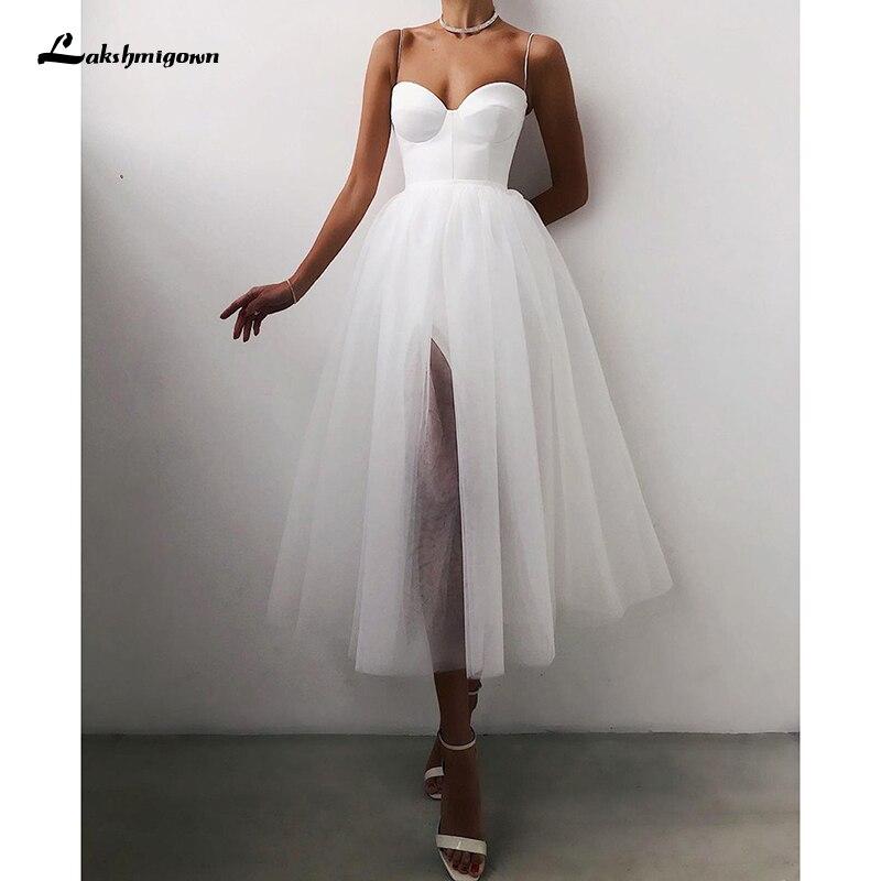 رخيصة ألف خط فستان زفاف قصير 2021 السباغيتي الأشرطة بسيطة العروس فساتين الشاي طول الزفاف رداء حفلات الزفاف