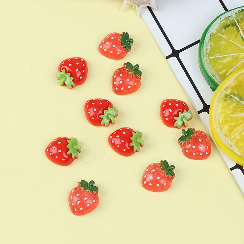 5 uds creativos dibujos animados fresa decoración imanes nevera pegatinas Mini resina potente nevera pegatinas magnéticas Juguetes