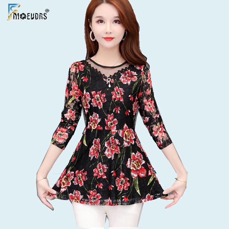 2020 primavera outono camisas básicas blusas mulheres elegante senhora do escritório retalhos sheer malha floral vintage laço túnica peplum topo j009