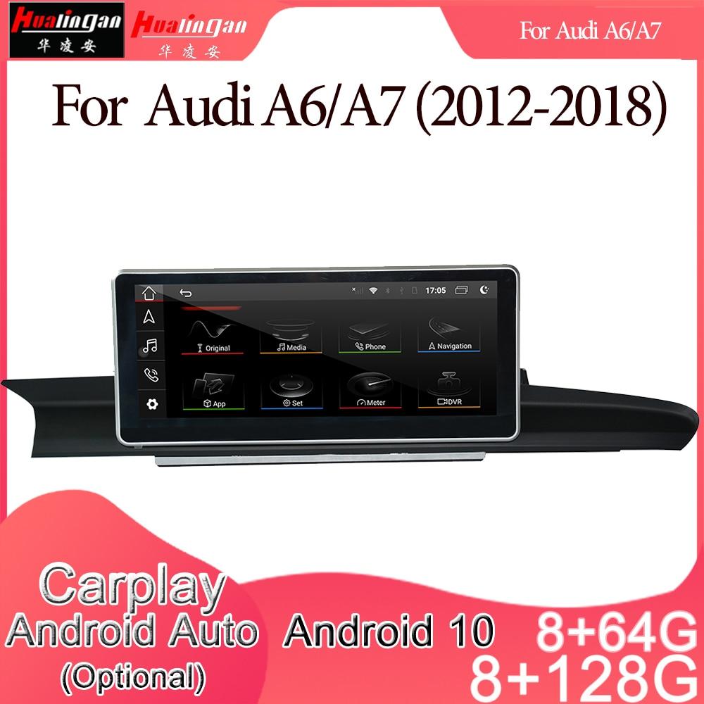 Android 10 Автомобильный мультимедийный DVD стерео радио плеер GPS навигация Carplay авто для Audi A6/A7(2012-2018) 2din