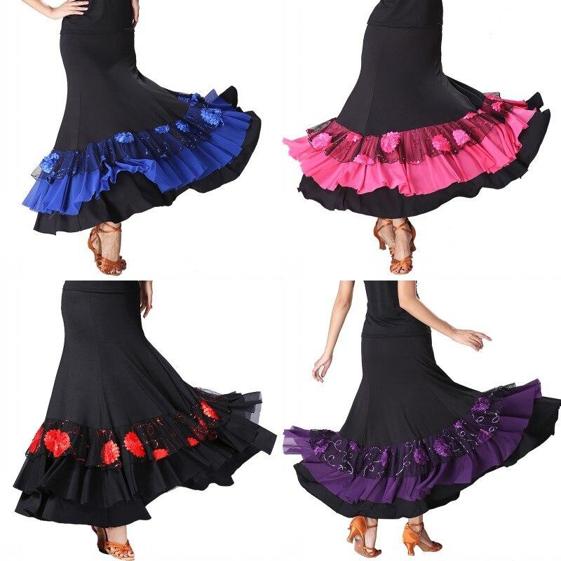 Z mujer Patchwork lentejuelas bordado danza moderna Falda de baile de medio-longitud de péndulo práctica muestran el rendimiento Falda de baile