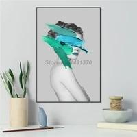 Affiche de fille nue Sexy avec brosse bleue  peinture sur toile moderne de mode  decoration murale de chambre a coucher  photos de decor de maison