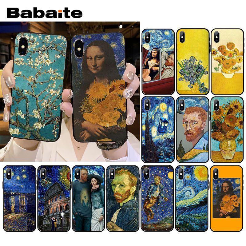 Babaite estrellada de Van gogh Mona Lisa funda para teléfono para iPhone XR 11 Pro MaxXS MAX 8 7 6 6S Plus X 5 5S SE