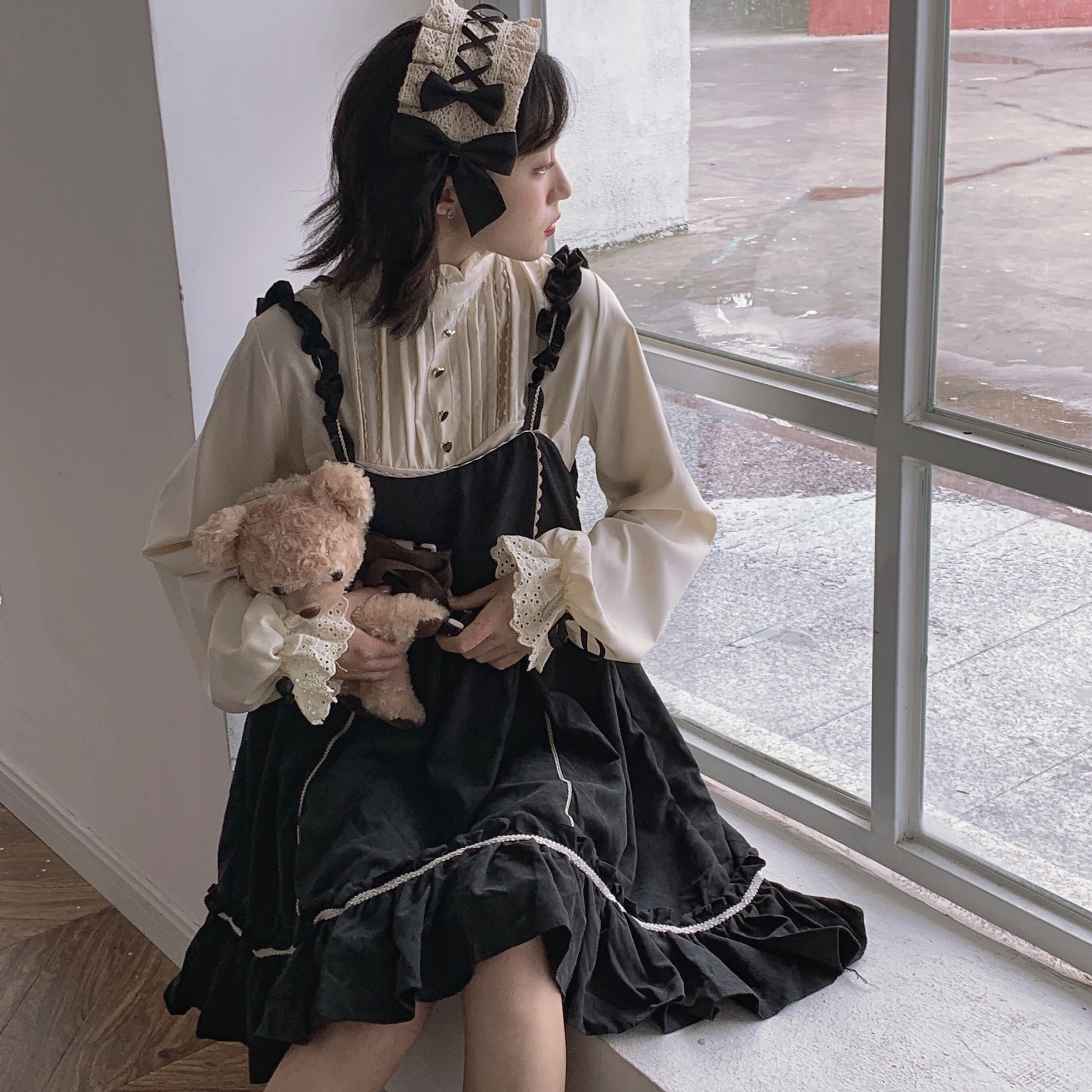 aWomen Lolita Style Party Dresses Japanese Korean Harajuku Gothic Bandage Bow Patchwork Girl Cosplay Dress Kawaii Ruffles Dress