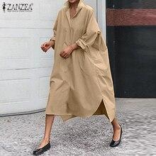 2020 automne solide chemise Robe ZANZEA élégant coton lin Sundress femmes décontracté à manches longues travail Vestidos femme Robe grande taille