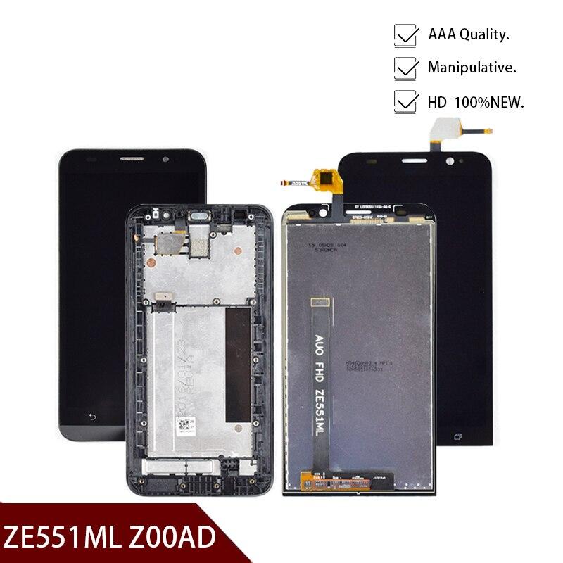 شاشة 5.5 بوصة LCD لـ ASUS Zenfone 2 ZE551ML LCD تعمل باللمس محول الأرقام الجمعية الإطار ل ASUS Zenfone 2 ZE551ML Z00AD LCD