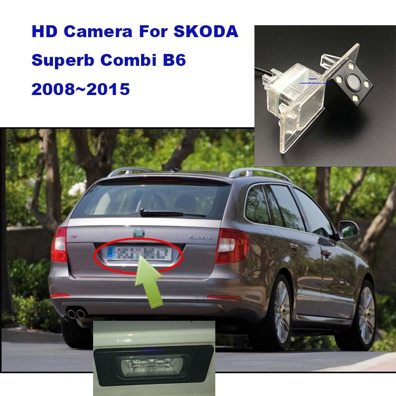 Yessun placa de licença câmera traseira para skoda superb combi b6 2008 ~ 2015 câmera visão traseira do carro assistência estacionamento