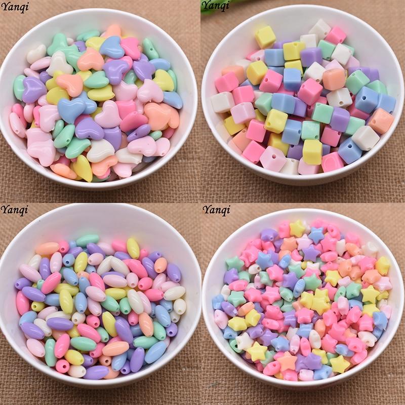 Perles acryliques colorées coeur étoile ovale carré entretoise perles pour la fabrication de bijoux résultats femmes enfants bricolage jouet perlé pour enfants