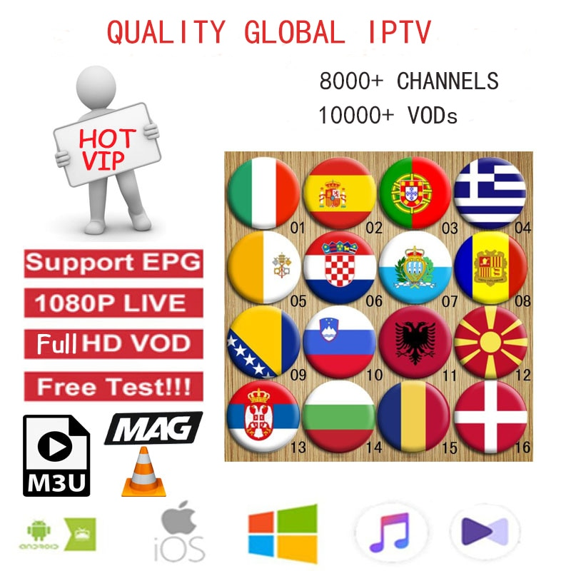 GLOBAL IPTV Subscription 10000+ live channels/US/English/Canada/Germany/Turkish/Arabic/Spain/Portugal/Sex18/ m3u/IOS/Linux/MAG/