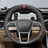 diy anti slip wear resistant steering wheel cover for audi a6 c8 avant allroad 18 19 a7 k8 18 19 car interior decoration
