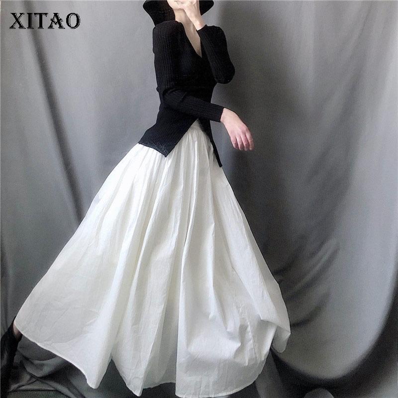 XITAO التجاعيد تنورة غير رسمية المرأة موضة جديدة خط نمط مرونة الخصر شخصية أنيقة بلون خليط شبكة ZY5709