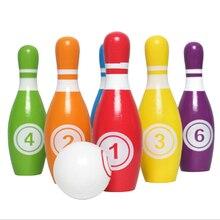 Juego de bolos para niños, 6 pines de colores, 1 Bola, juguetes para niños pequeños impresos con número, regalo para niños y niñas de 1 a 6 años