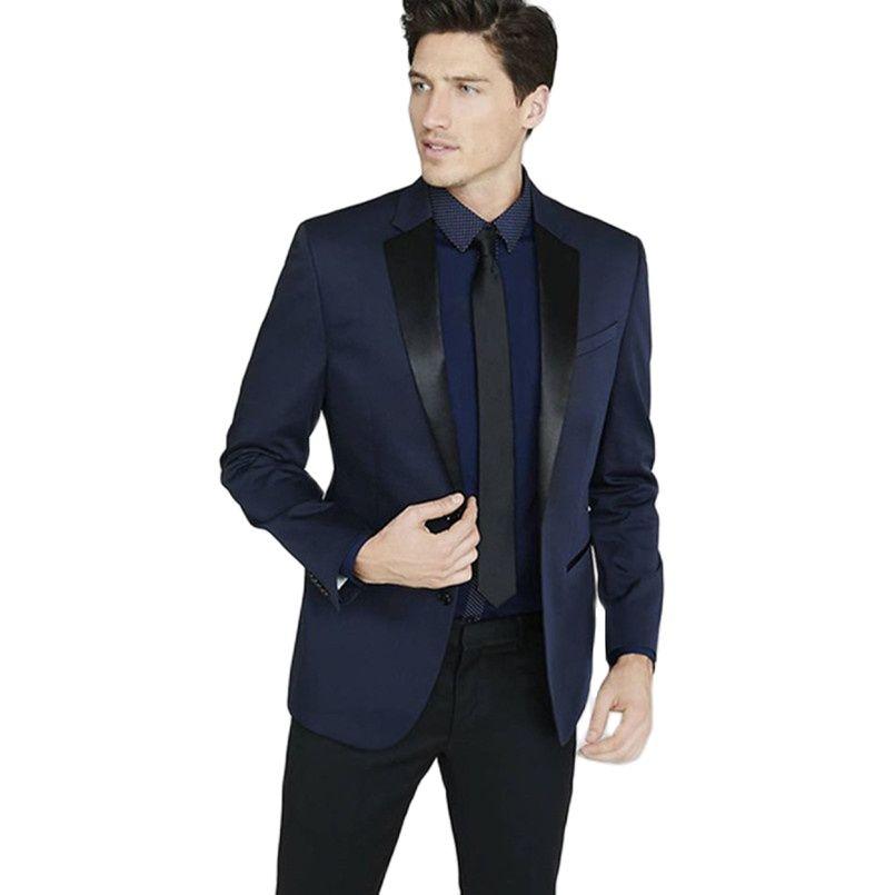 Custom Made Navy Blue Men Suit Wedding Tuxedos for Best Groom (jacket+pant)
