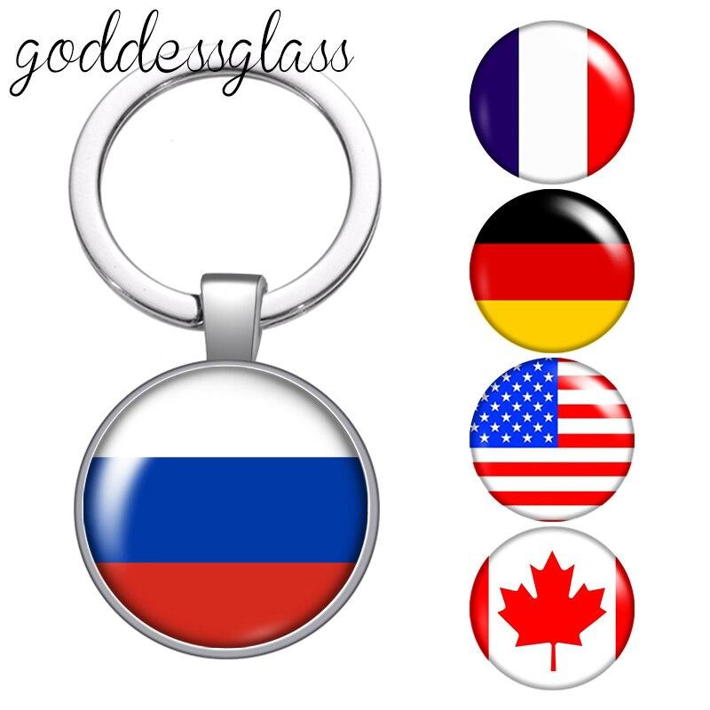 Bandera Nacional Флаг России Drapeau Francia Canadá de llavero de cabujón de coche llavero con anilla de encantos llaveros para regalos