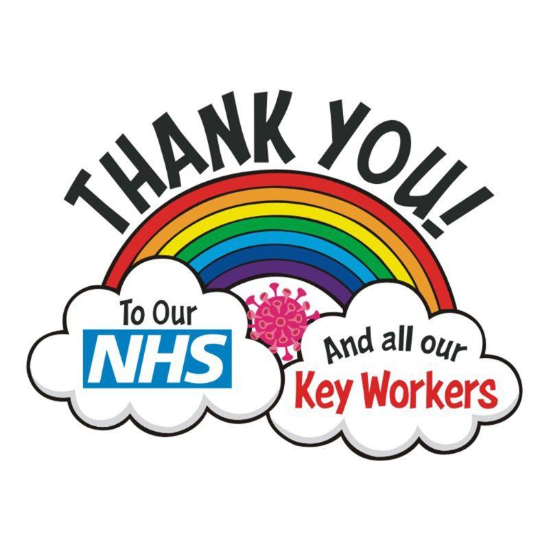 Thank You NHS Stickers Rainbow Waterproof Vinyl Signs Window Car Taxi Van Shop Thank You NHS Sticker