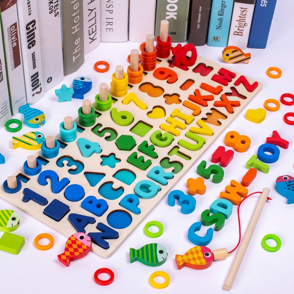 ألعاب تعليمية من مونتيسوري خشبية للأطفال ، ألغاز البناء ، أرقام عد الصيد ، شكل رقمي ، ألعاب مجدولة متناسقة
