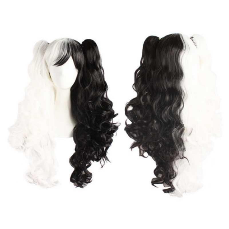 Dangan Ronpa Monokuma Cosplay Wig Danganronpa Long Clip Ponytails Curly Heat Resistant Synthetic Hair Wigs + Wig Cap
