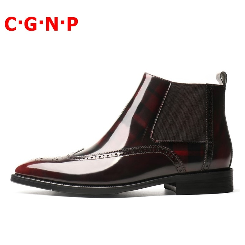 Купить с кэшбэком CGNP British Style Patent Leather Bright Chelsea Boots Men Brogue Carving Winter Boots Mens Handmade Ankle Boots