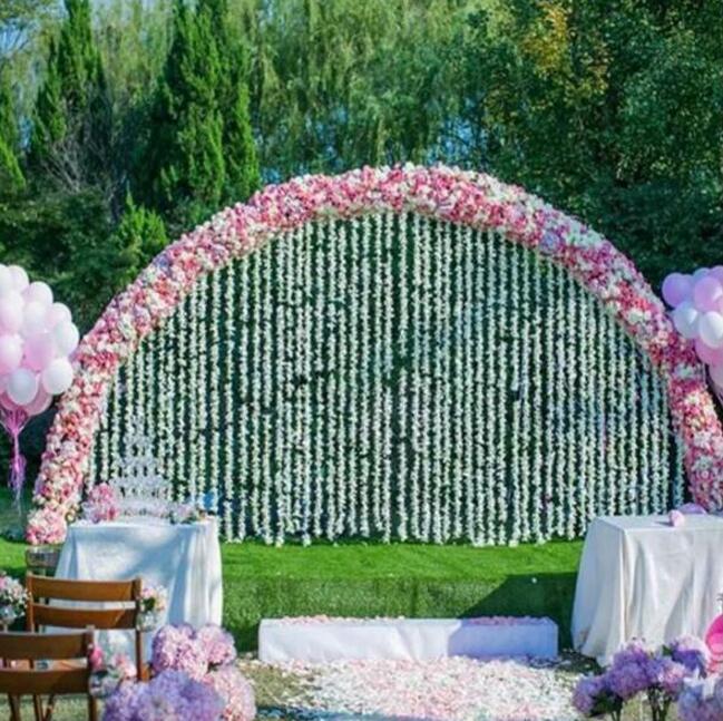 Estante de puerta de flor de cerezo al aire libre césped boda fondo de pared grande desmontable arco de anillo de hierro