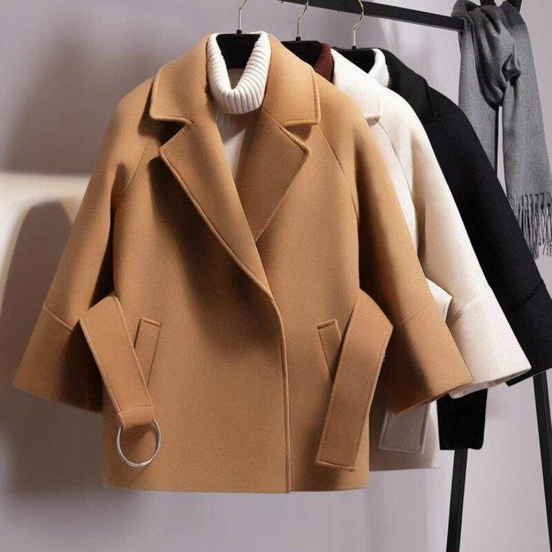 Abrigo de lana corto para mujer de chaqueta con cinturón informal a...