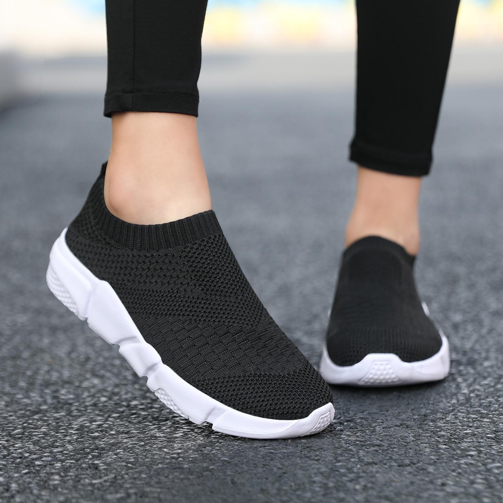 Women Flat Slip on Black Shoes Woman Lightweight Walking Sock Sneakers Summer Casual Chaussures Femme Tenis Loafers Plus Size 42