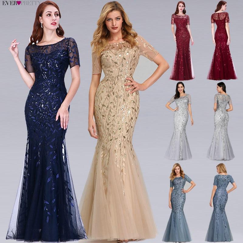 Burgundy Bridesmaid Dresses Ever Pretty Elegant Mermaid O Neck Sequined Wedding Party Dress Formal G
