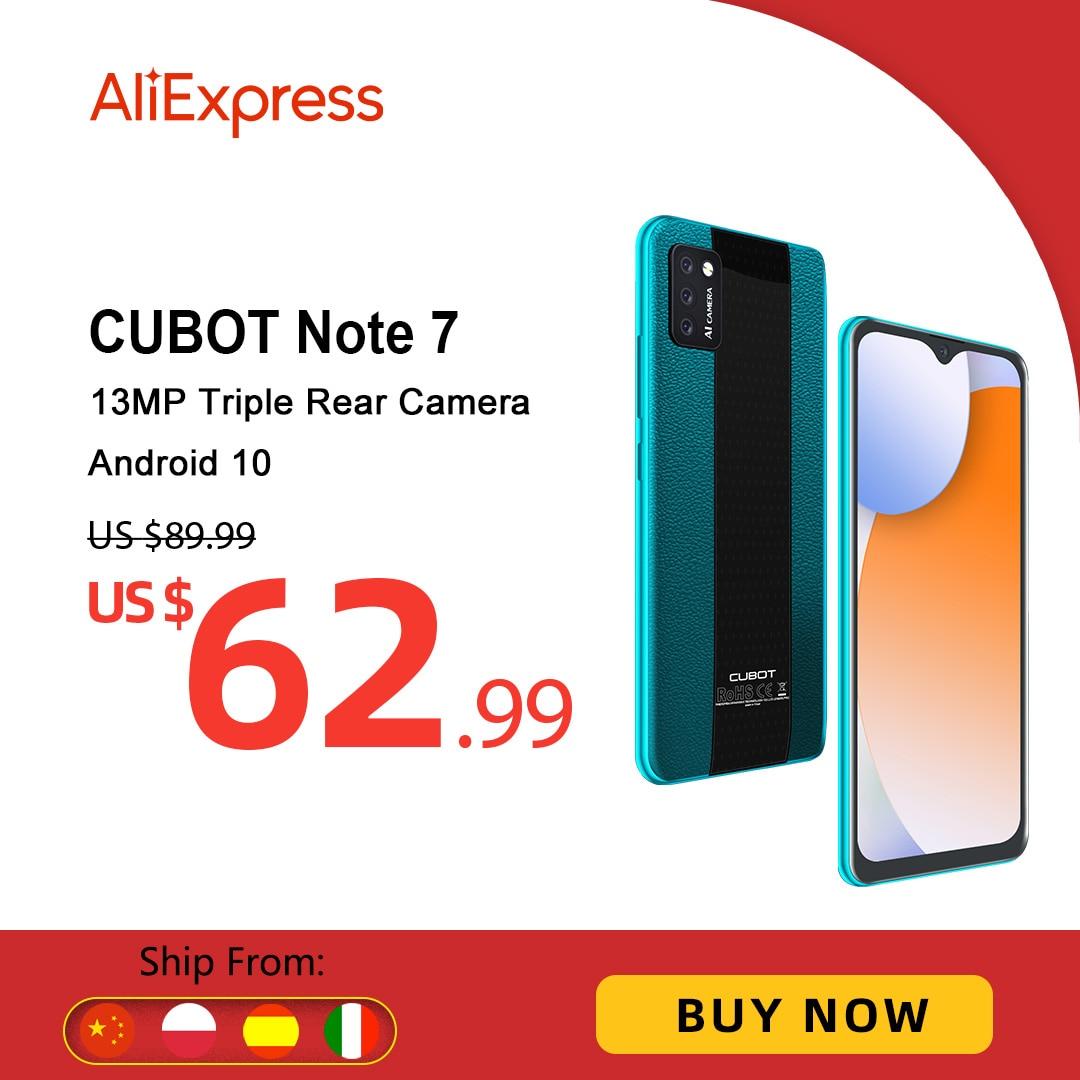 هاتف Cubot نوت 7 الذكي ثلاثي الكاميرا الخلفية كاميرا 4G LTE شاشة 5.5 بوصة 3100mAh أندرويد 10 بطاقة SIM المزدوجة هاتف محمول فتح الوجه Note 7 2GB+16GB