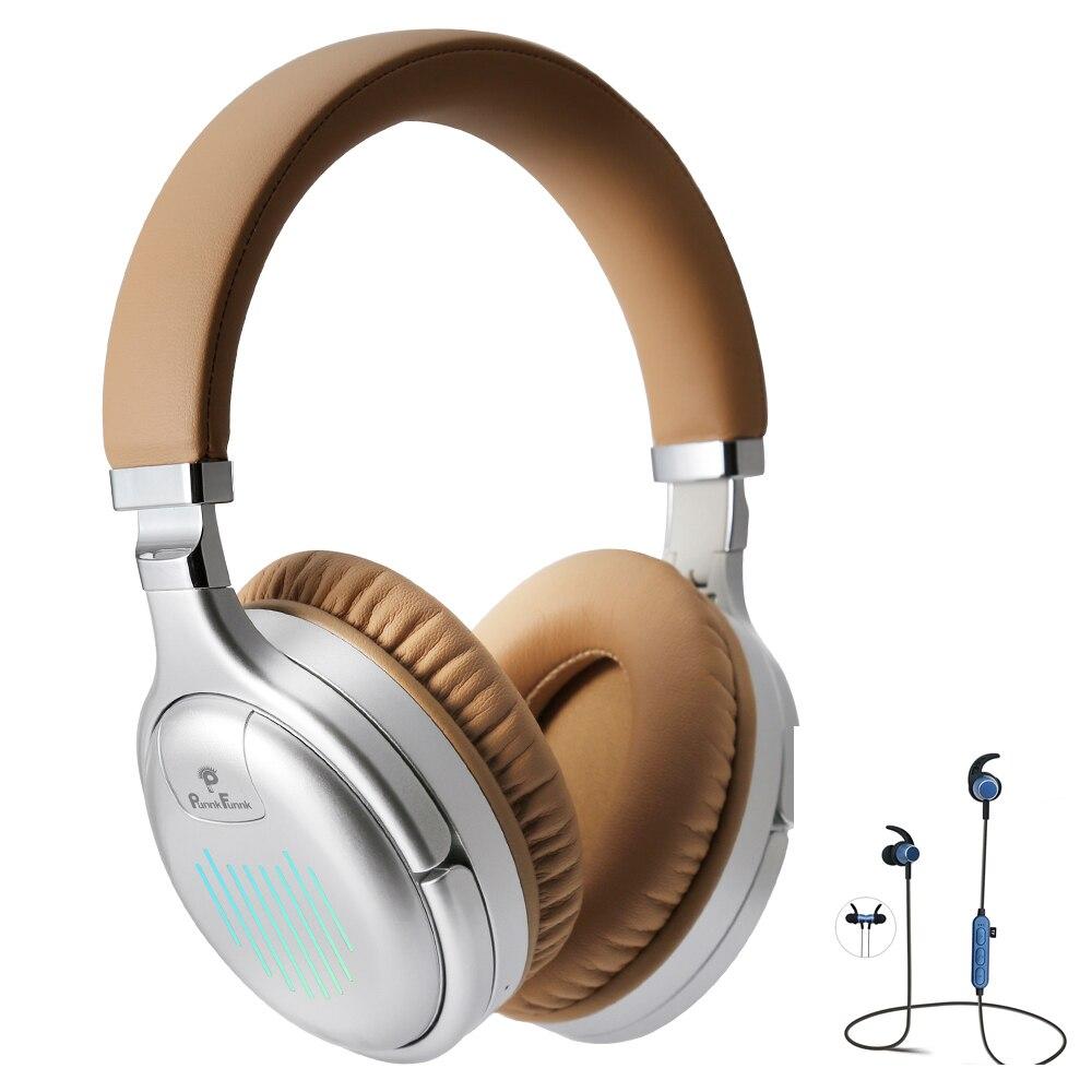 سماعات بلوتوث باس ستيريو عميق نشط إلغاء الضوضاء اللاسلكية و السلكية سماعة رأس مزودة بميكروفون MP3 FM سماعة للهاتف المحمول